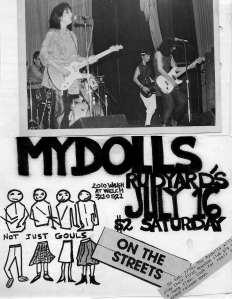 Mydolls flyer mock-up/original, early 1980s, by Trish Herrera